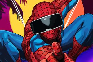Spiderman Using VR Headset