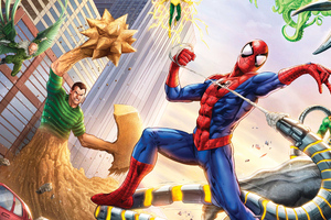 Spiderman Vs Sinister Six Art Wallpaper