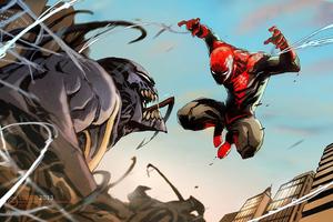 Spiderman Vs Venom Comic Art 4k