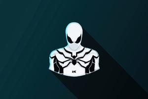 Spiderman White Suit Minimal 5k