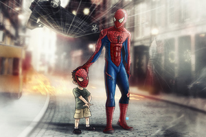 Spiderman With Child 4k Wallpaper