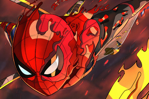 Spidey Burning Wallpaper