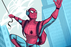 Spidey Listening To Music Wallpaper