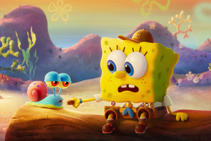 SpongeBob And Gary Cute 4k Wallpaper