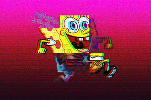 Spongebob Vaporwave 4k Wallpaper
