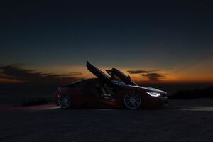 Sports Car Sunset By Beach 5k
