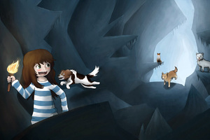 Stacy Plays With Dogs Wallpaper