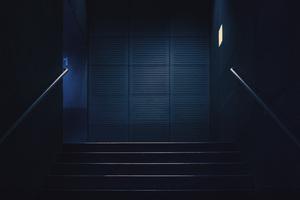 Stairway Dark Lights Minimalism 4k