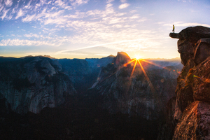 Standing At Glacier Point Sunrise In Yosemite National Park By