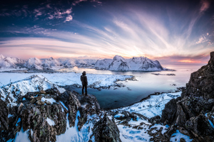 Standing At Lofoten Norway 10k Wallpaper