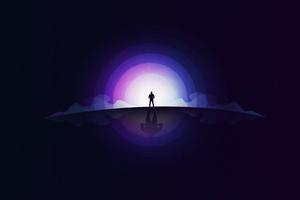 Standing On Front Of Moonlight 4k Wallpaper