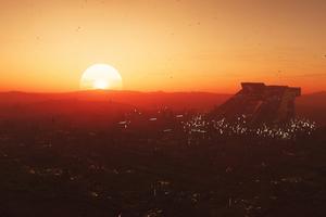 Star Citizen Sunset In Hurston Planet Wallpaper