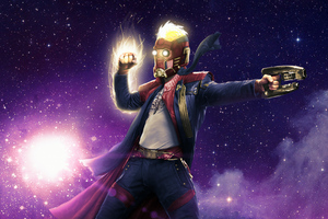 Star Lord Captain Marvel Mashup Wallpaper