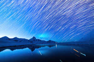 Star Trails Snow Mountains 4k