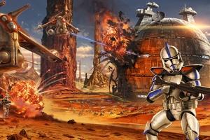 Star Wars Artwork Geonosis Clone Trooper