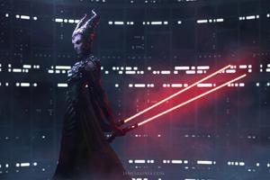 Star Wars Horns Woman Lightsaber Sci Fi Wallpaper
