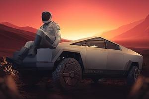 Starman With Cybertruck On Mars Wallpaper