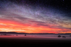 Starry Night Sunset Skyscape Stars 5k Wallpaper