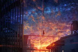 Starry Sky Anime Girl 4k Wallpaper