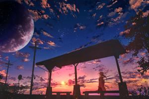 Starry Sky Anime Girl Wallpaper
