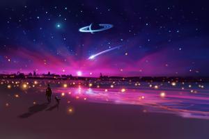 Stars And Fireflies Wallpaper