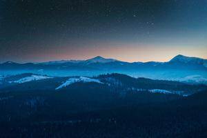 Stars In The Sky Foggy Season Forest Mountains 4k Wallpaper