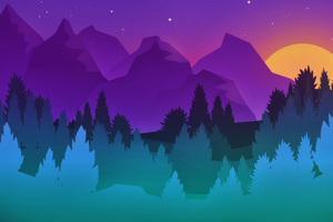 Stars Mountains Trees Colorful Minimalist Artwork Wallpaper
