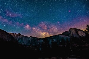 Stars Space Landscape Mountains