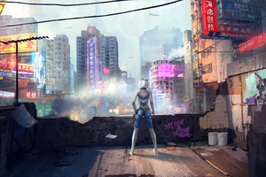 Steampunk Girl City 4k
