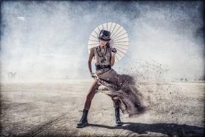 Steampunk Umbrella Woman Wallpaper