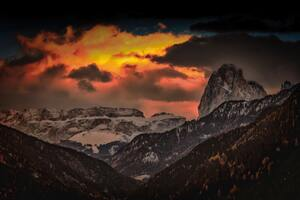 Stock Nature Golden Hours Rocks Mountains Orange Sky 4k