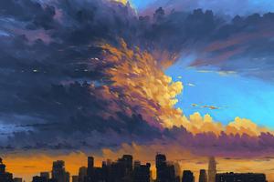 Storm Over City 4k Wallpaper