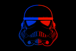 Stormtrooper Blue Red Mask Minimal 8k Wallpaper