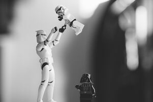 Stormtrooper Darth Vader Toy Monochrome Wallpaper