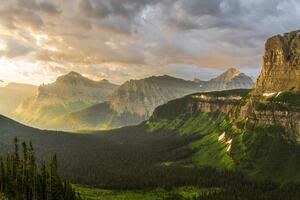 Stormy Sunrise At Glacier National Park 8k Wallpaper