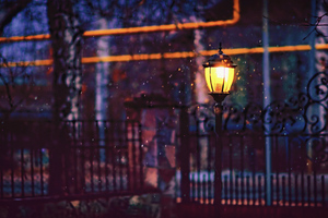 Street Light Fence 4k