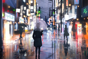 Street Raining Umbrella Girl 4k Wallpaper