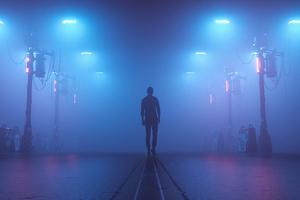 Studio Lights Boy Alone 4k