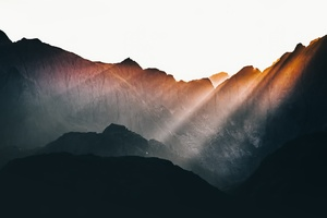 Sun Beams Over Mountains Wallpaper