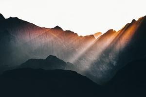 Sun Beams Over Mountains Wallpaper