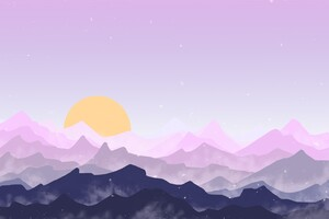 Sun Mountains Pink Digital Art Wallpaper