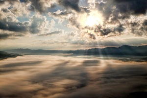 Sun Rays Through Clouds Mountains