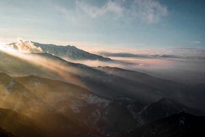 Sun Rays Through Mountains