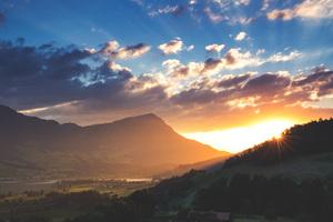 Sunbeams Mountains Landscape 5k Wallpaper