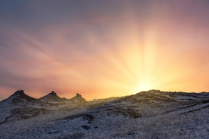 Sunrise In The Mountains Covered In Snow 4k Wallpaper