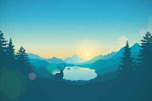 Sunrise Lake Art Work Wallpaper