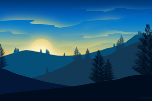 Sunrise Landscape Minimalism 5k Wallpaper
