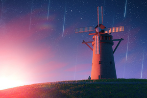 Sunrise Meteorite Windmill 4k Wallpaper