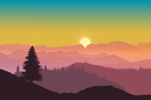 Sunrise Of Minimal Mountains 5k Wallpaper