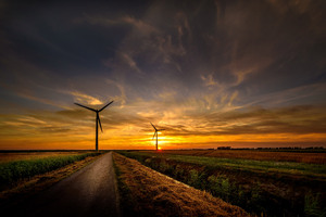 Sunrise Wind Turbine Road Sky 8k Wallpaper